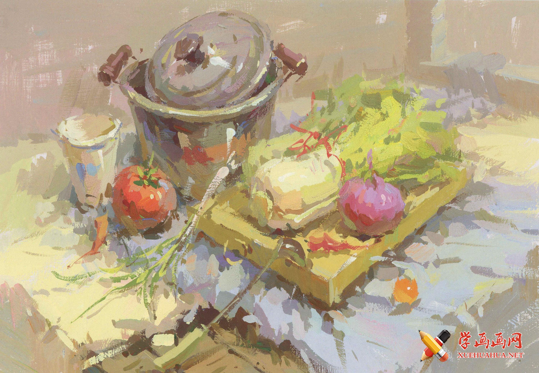 优秀水粉画图片:不锈钢锅、白菜、砧板、洋葱、一次性纸杯、西红柿的组合画法(1)
