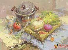优秀水粉画图片:不锈钢锅、白菜、砧板、洋葱、一次性纸杯、西红柿的组合画法