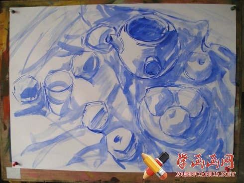 水粉静物教程-打形