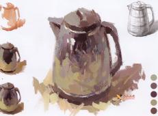 水粉画单体:不锈钢水壶的画法范画及简要过程图