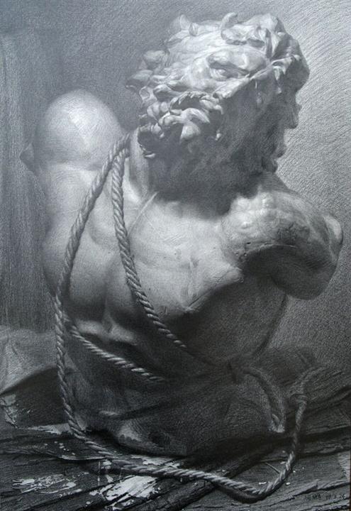 飞地艺术坊素描石膏像作品欣赏(1)