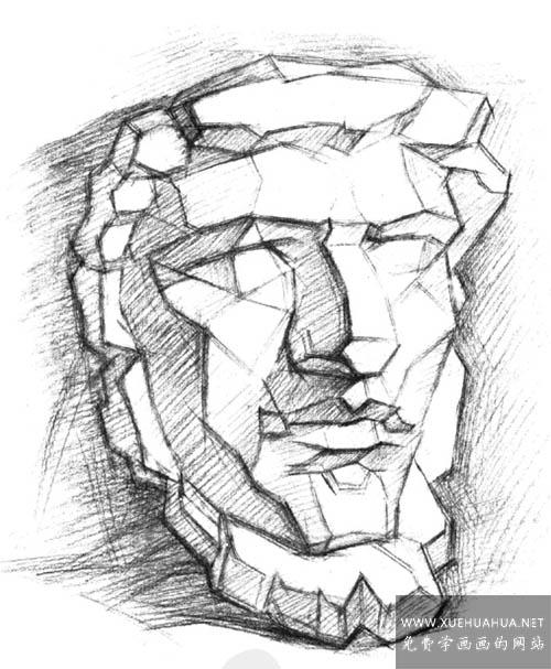 亚历山大分面素描石膏像讲解(3)
