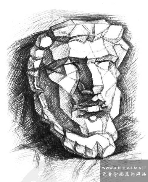 亚历山大分面素描石膏像讲解(4)