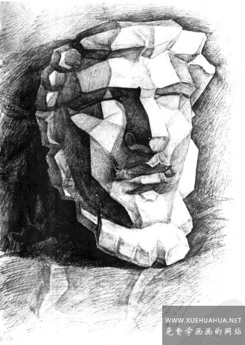 亚历山大分面素描石膏像讲解(5)