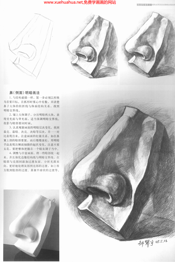 素描石膏像五官及面像结构与明暗画法(1)
