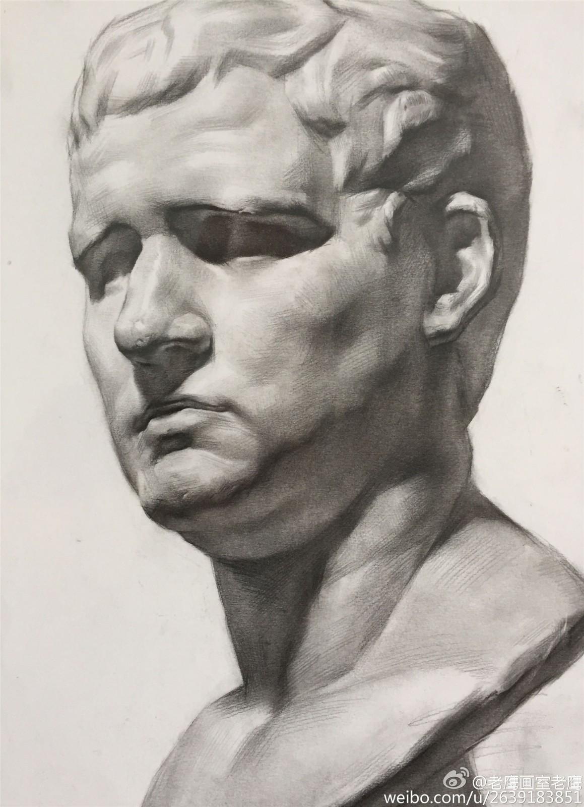 阿格里巴素描石膏像范画欣赏(2)