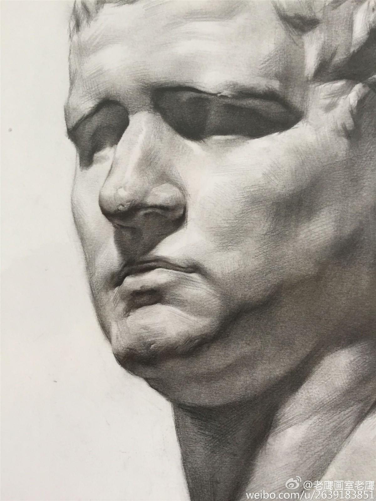 阿格里巴素描石膏像范画欣赏(3)