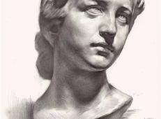 应锡强素描石膏像作品2幅