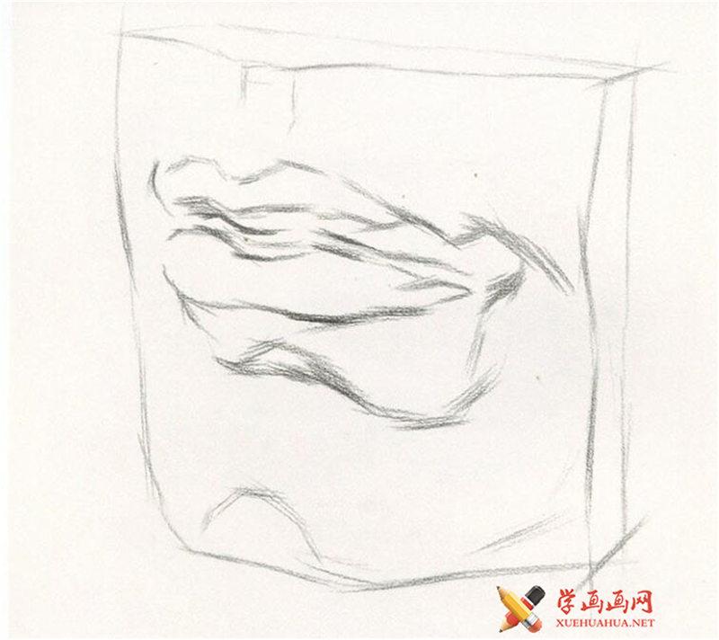 素描石膏像嘴的画法步骤图解(2)