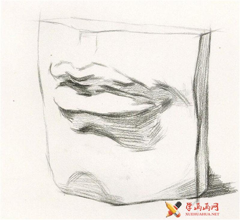素描石膏像嘴的画法步骤图解(3)