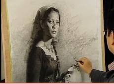素描技法:冉茂芹人物素描女青年肖像视频教程(下集)