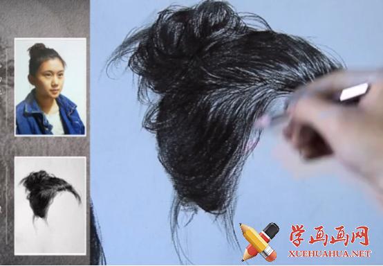 素描头发的画法视频教程