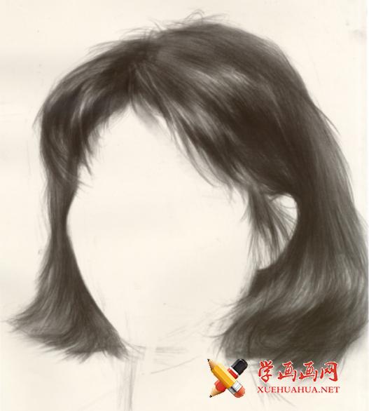 素描头发怎么画?女性中长发的素描画法步骤图解【高清图片】(1)