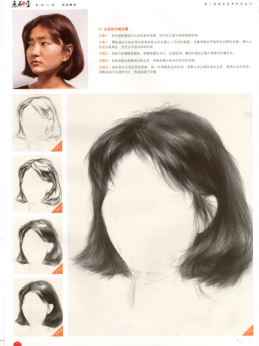 素描头发怎么画?女性中长发的素描画法步骤图解【高清图片】(2)