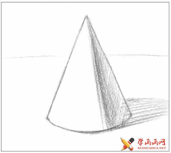 素描石膏几何体_圆锥体的画法教程(正放)