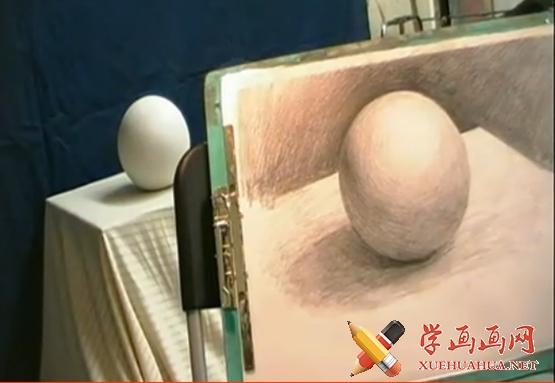 素描石膏几何体之球体的画法(1)