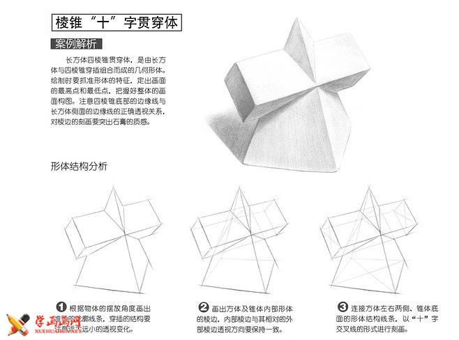 素描几何体_十字贯穿体的画法(2)