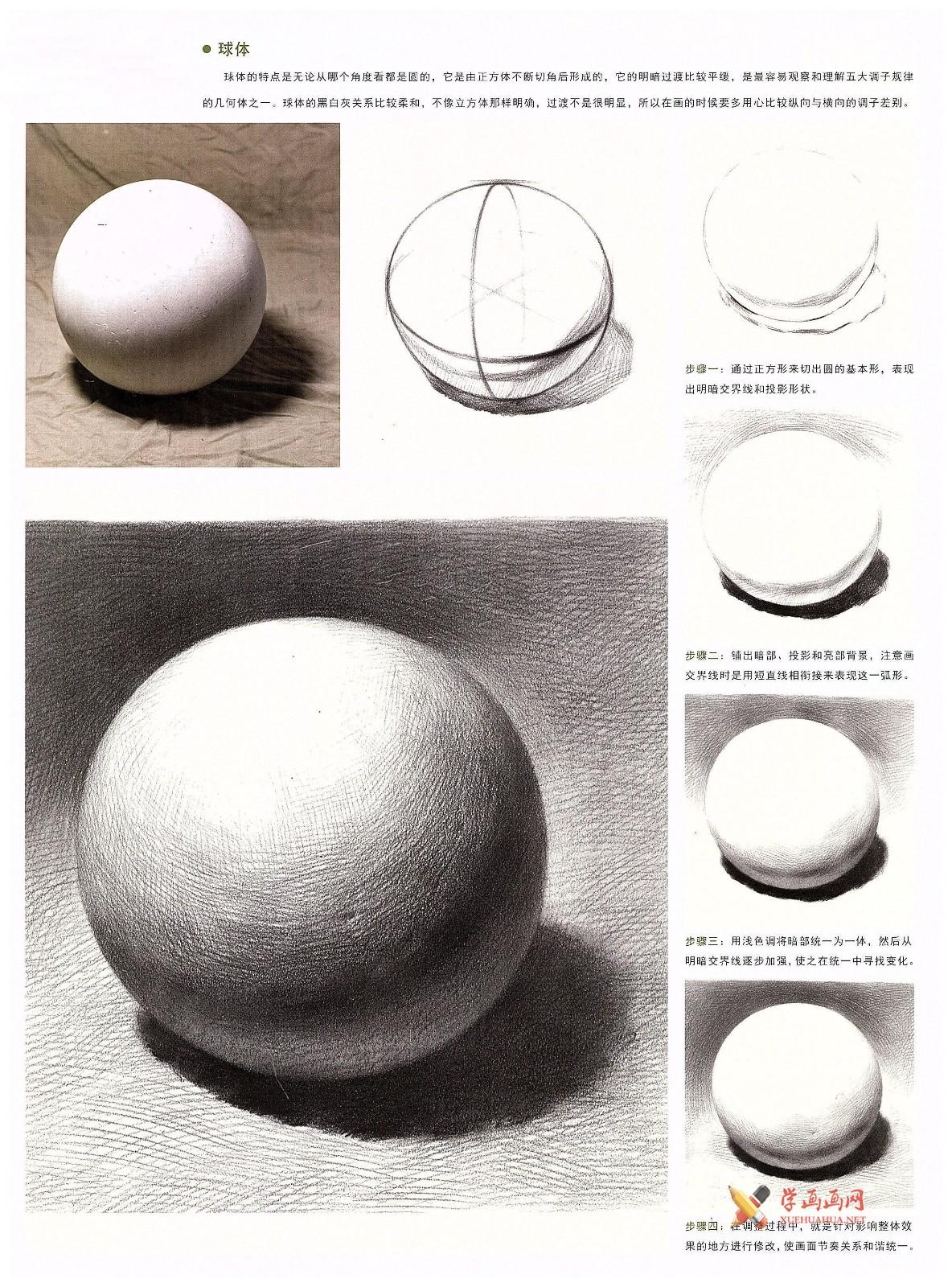 素描几何体_素描石膏球体的画法资料图片步骤解析(4)