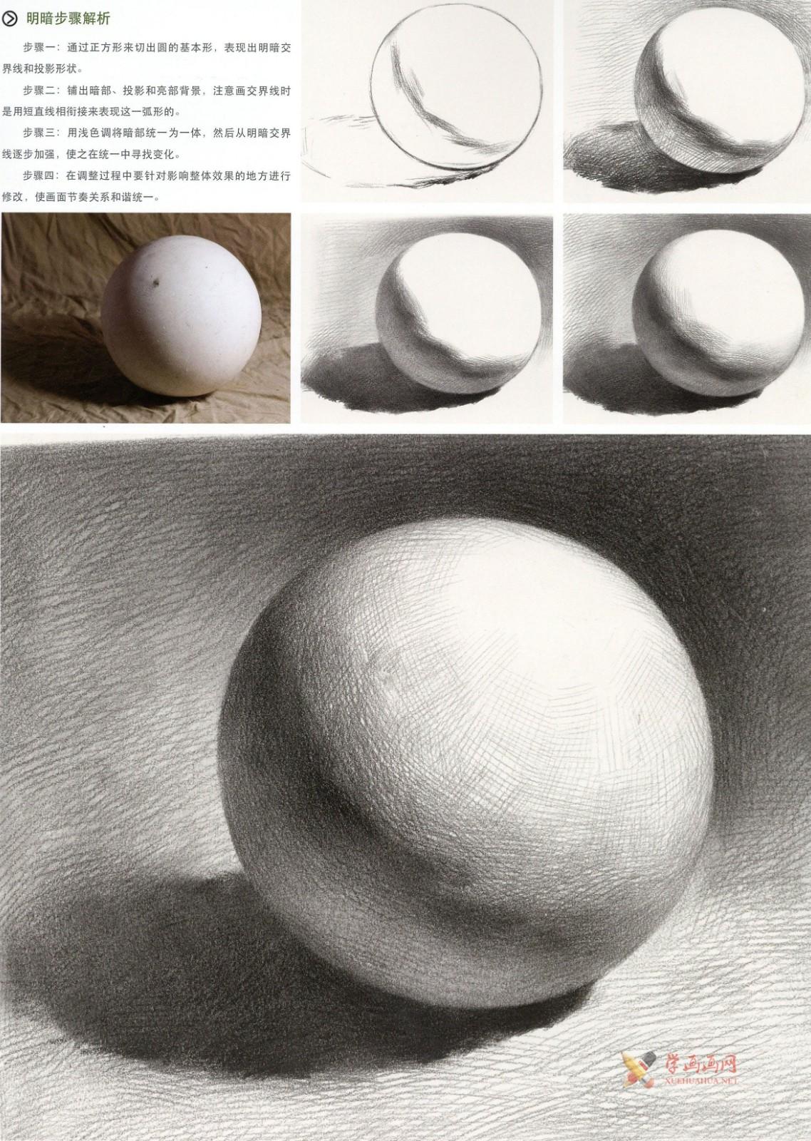 素描几何体_素描石膏球体的画法资料图片步骤解析(3)