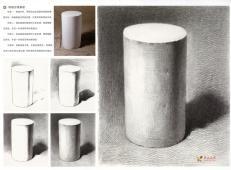 素描几何体_素描圆柱体的画法步骤教程图片