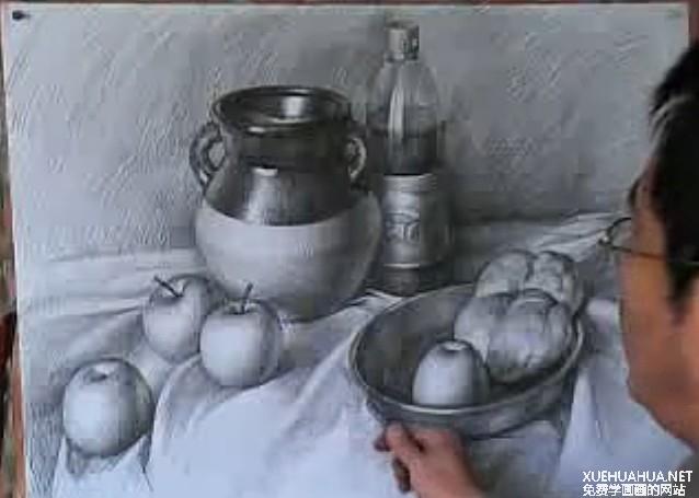 陶罐、可乐瓶、苹果、金属盆、土豆素描画法视频教程
