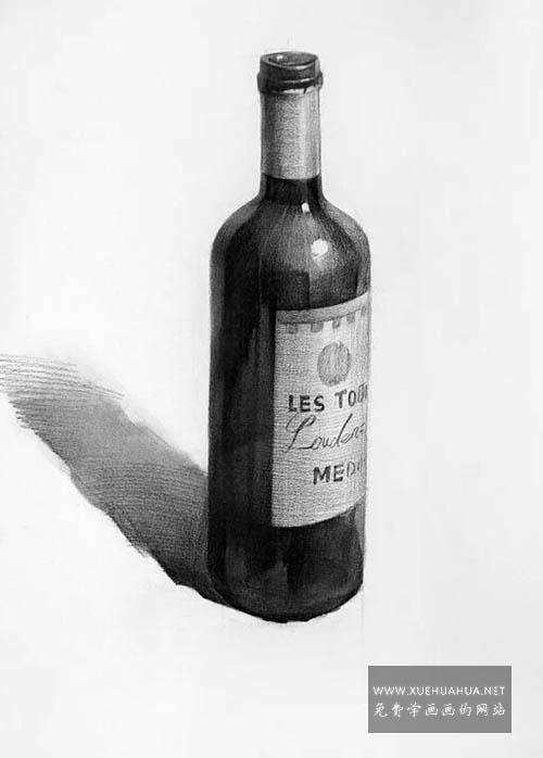 素描静物红酒瓶