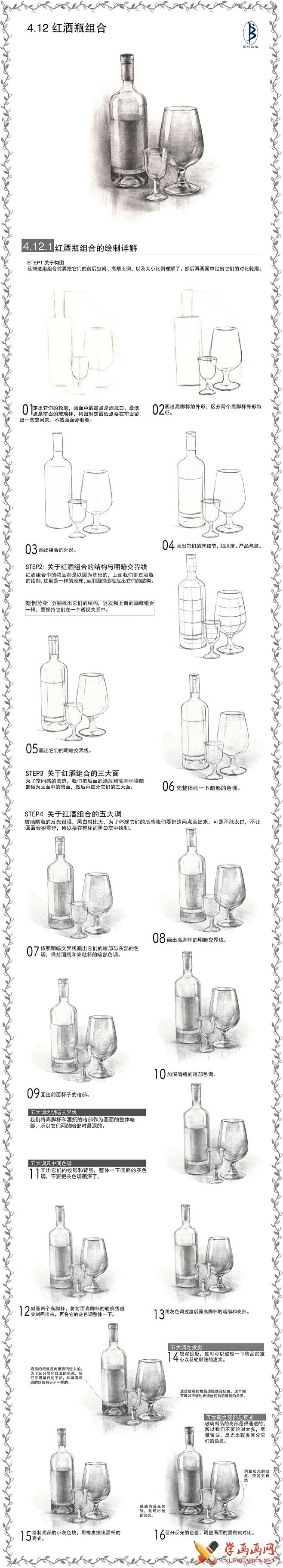 素描入门:红酒瓶和高脚杯画法