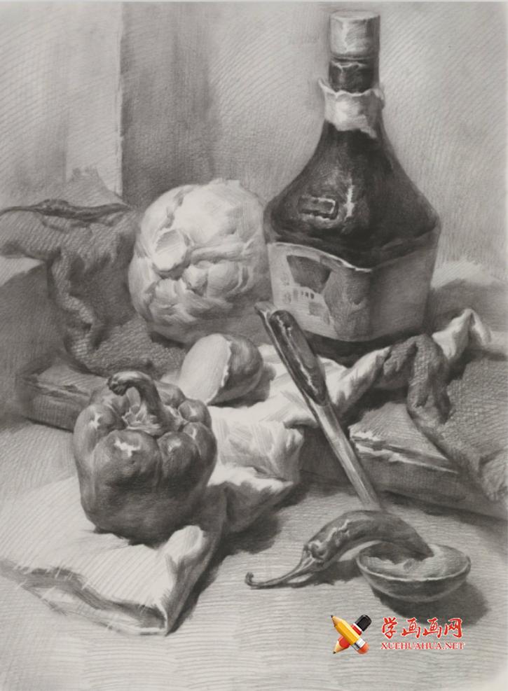 素描图片:素描静物酱油瓶、包菜、圆椒、不锈钢勺的画法素描高清临摹图片素材(1)