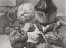 素描图片:素描静物酱油瓶、包菜、圆椒、不锈钢勺的画法素描高清临摹图片素材