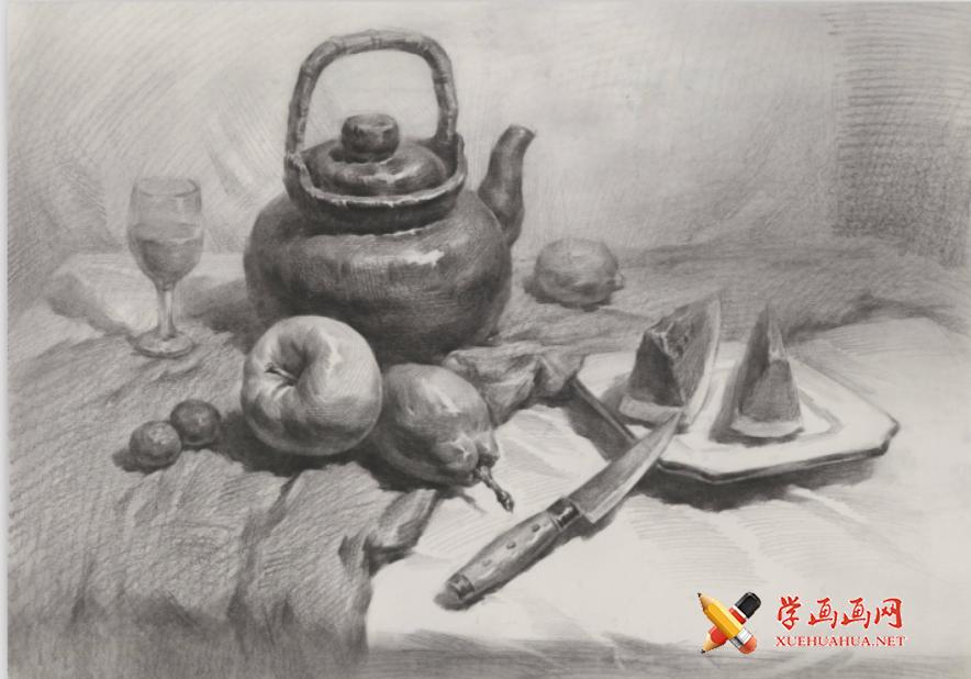 优秀素描画:中药罐、西瓜、苹果、梨、水果刀、磁盘的素描静物组合画法高清临摹图片(1)