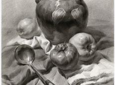 素描深色瓷壶、西红柿、不锈钢勺、水果的组合画法图片
