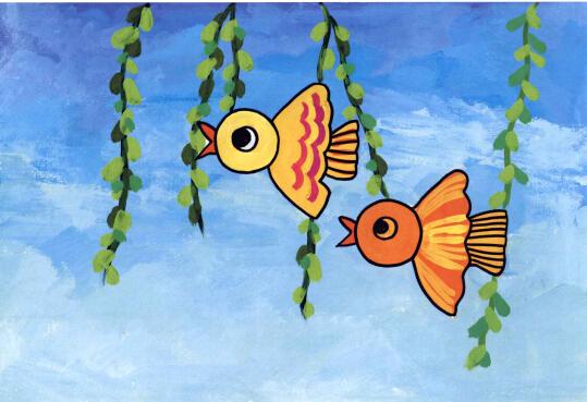 学画儿童画入门教程-小鸟的画法