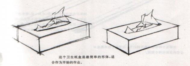 这个卫生纸盒是最简单的立方体,适合开始的绘画练习