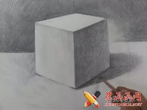 素描入门视频教程《石膏几何体正方体的画法》(5)