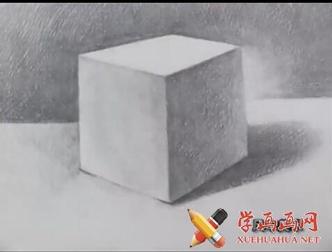 素描入门视频教程《石膏几何体正方体的画法》(6)