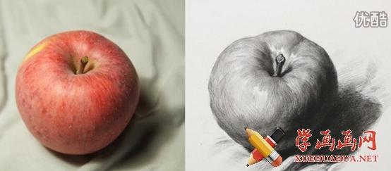 素描入门教程:怎么画苹果详细步骤(1)