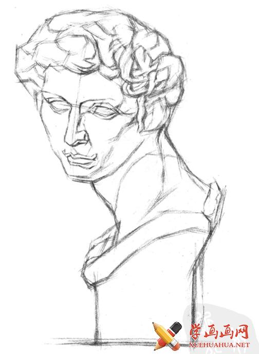 石膏像《小卫》画法步骤(2)