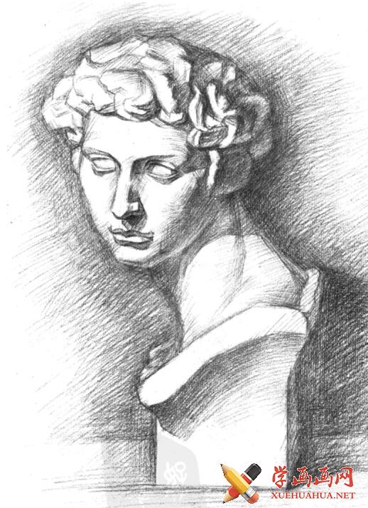 石膏像《小卫》画法步骤(4)
