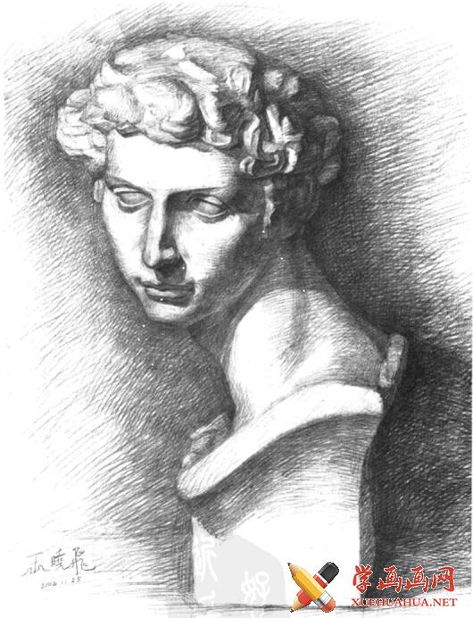 石膏像《小卫》画法步骤(5)