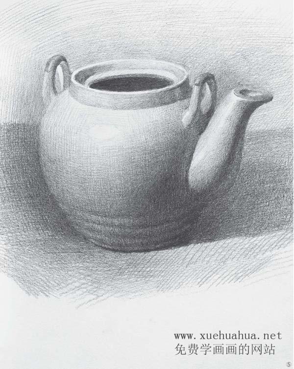 素描入门 单体素描静物画法 陶罐 玻璃器皿 瓷器的画法步骤