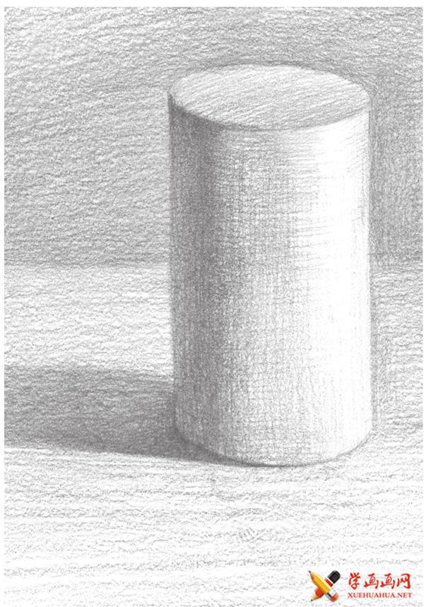 素描入门教系列程:素描几何体圆柱体的画法步骤(17)