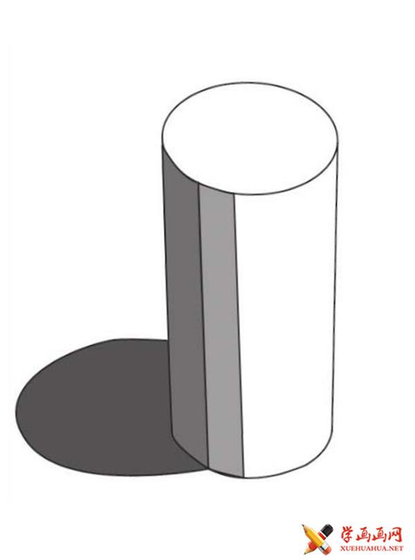 素描入门教系列程:素描几何体圆柱体的画法步骤(2)