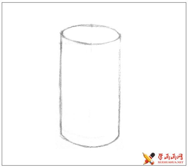 素描入门教系列程:素描几何体圆柱体的画法步骤(3)