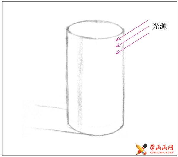素描入门教系列程:素描几何体圆柱体的画法步骤(4)