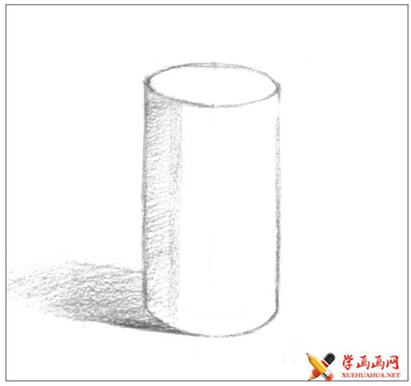 素描入门教系列程:素描几何体圆柱体的画法步骤(5)
