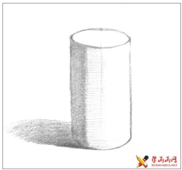 素描入门教系列程:素描几何体圆柱体的画法步骤(6)