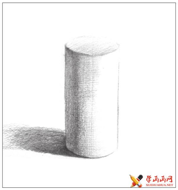 素描入门教系列程:素描几何体圆柱体的画法步骤(8)