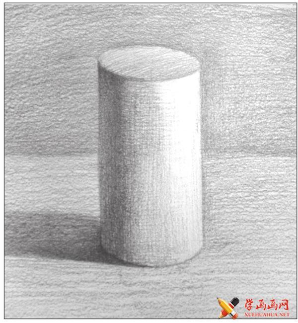 素描入门教系列程:素描几何体圆柱体的画法步骤(13)