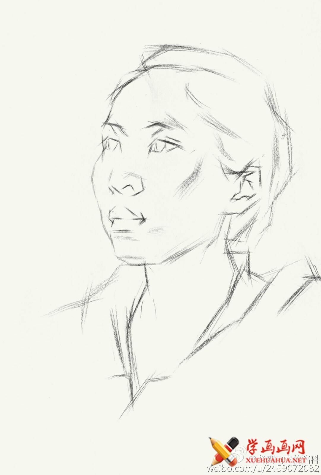 素描进阶教程:四分之三年轻女子素描头像作画步骤(2)