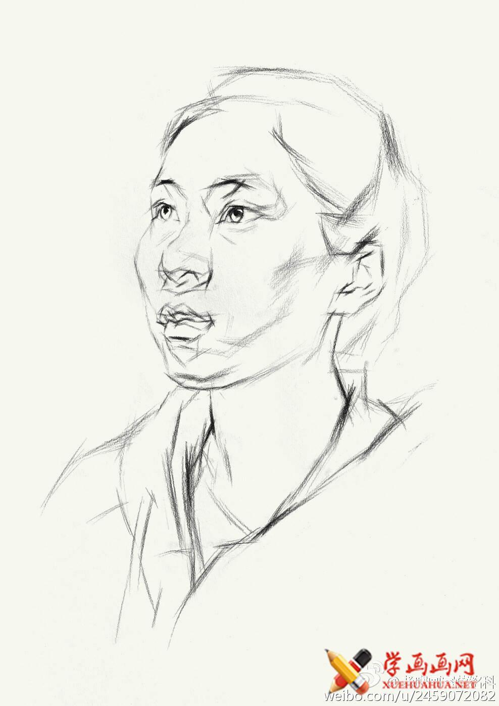 素描进阶教程:四分之三年轻女子素描头像作画步骤(3)